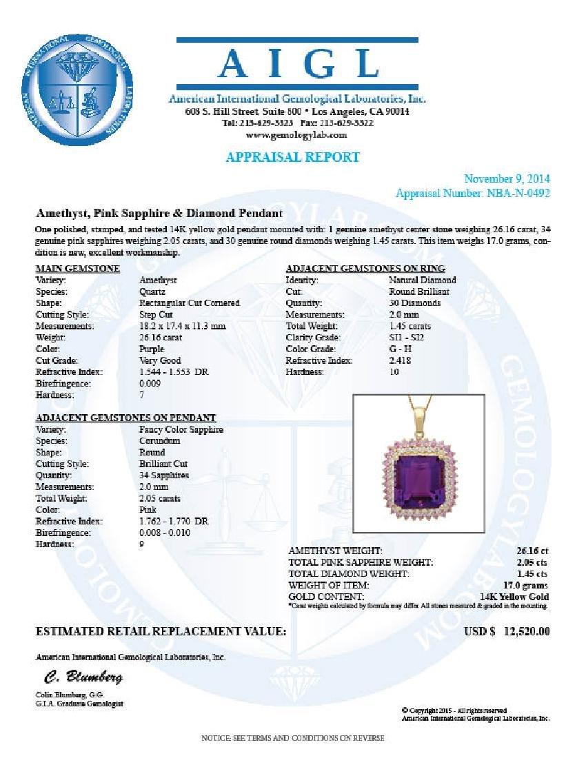 14K Gold 26.16ct Amethyst 2.05ct Sapphire 1.45ct - 5