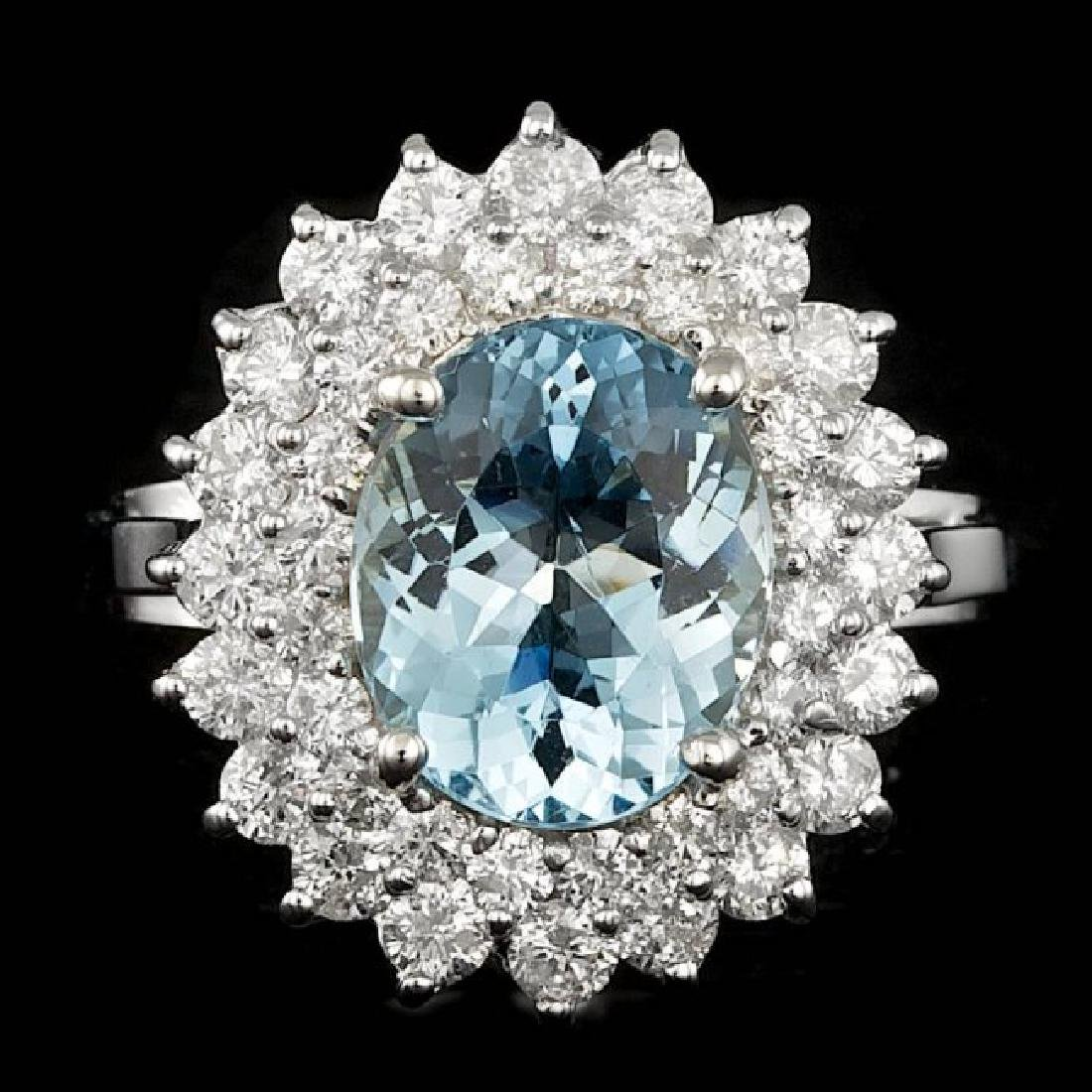 14k Gold 3.00ct Aquamarine 1.60ct Diamond Ring