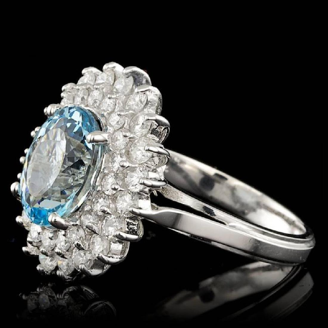 14k Gold 3.00ct Aquamarine 1.60ct Diamond Ring - 2