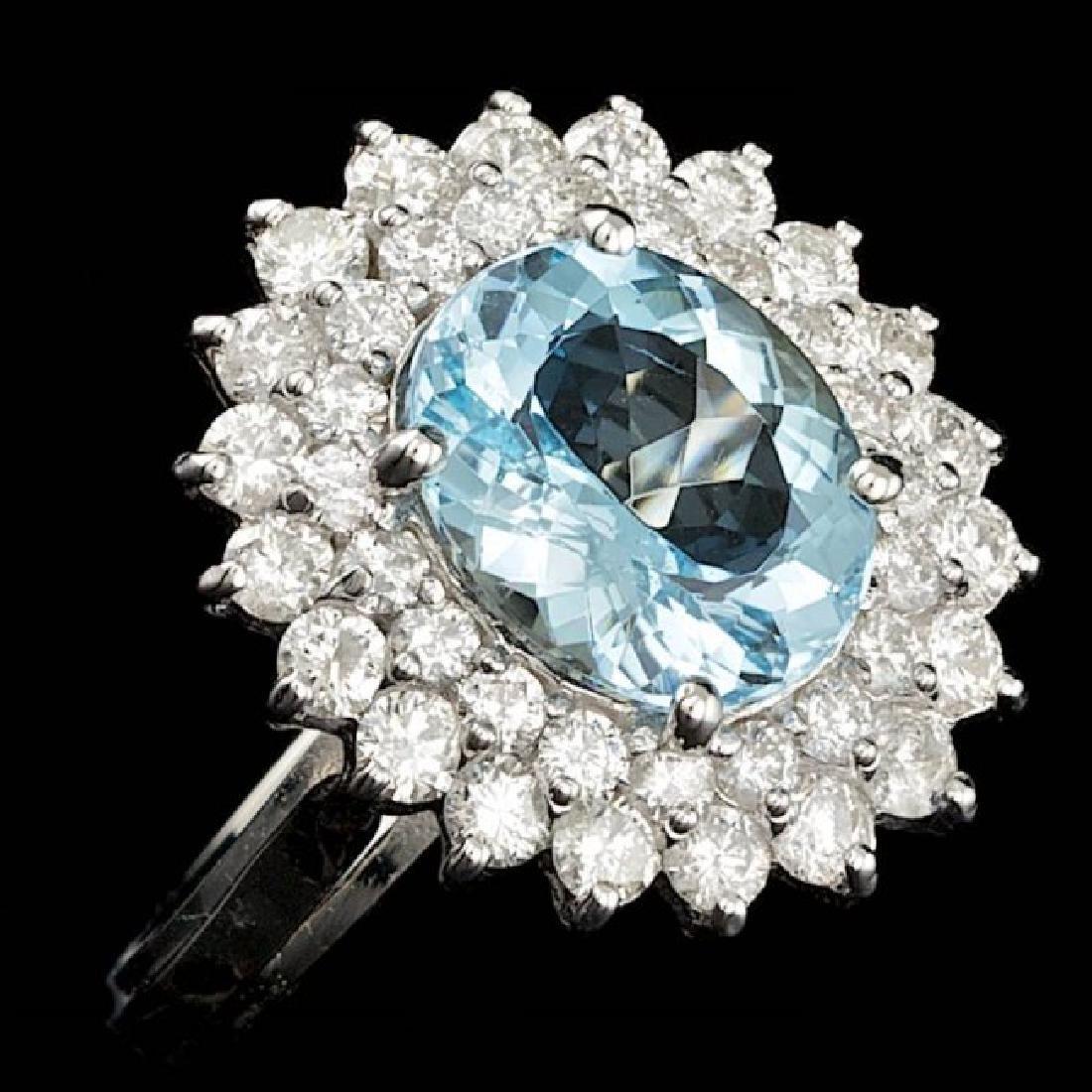 14k Gold 3.00ct Aquamarine 1.60ct Diamond Ring - 3