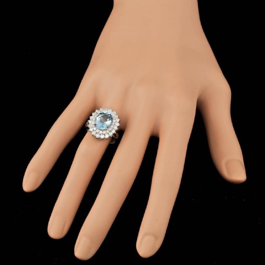 14k Gold 3.00ct Aquamarine 1.60ct Diamond Ring - 4