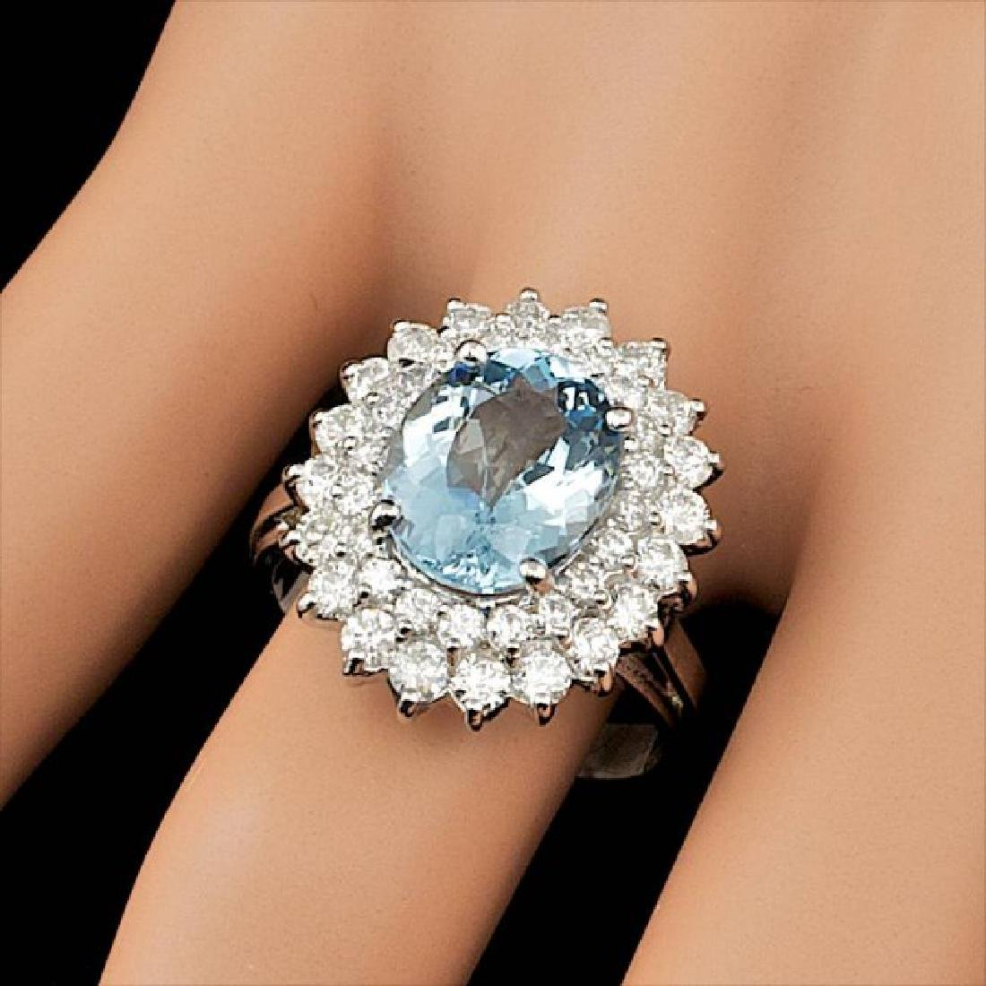 14k Gold 3.00ct Aquamarine 1.60ct Diamond Ring - 5