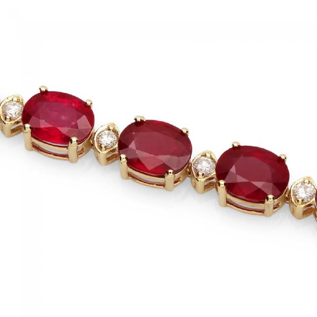 14k Gold 34.50ct Ruby 1.15ct Diamond Bracelet - 2
