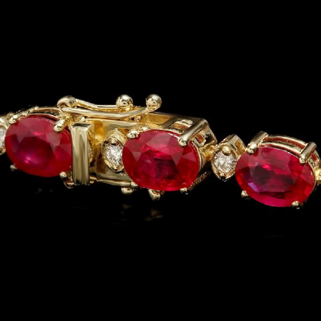 14k Gold 34.50ct Ruby 1.15ct Diamond Bracelet - 3