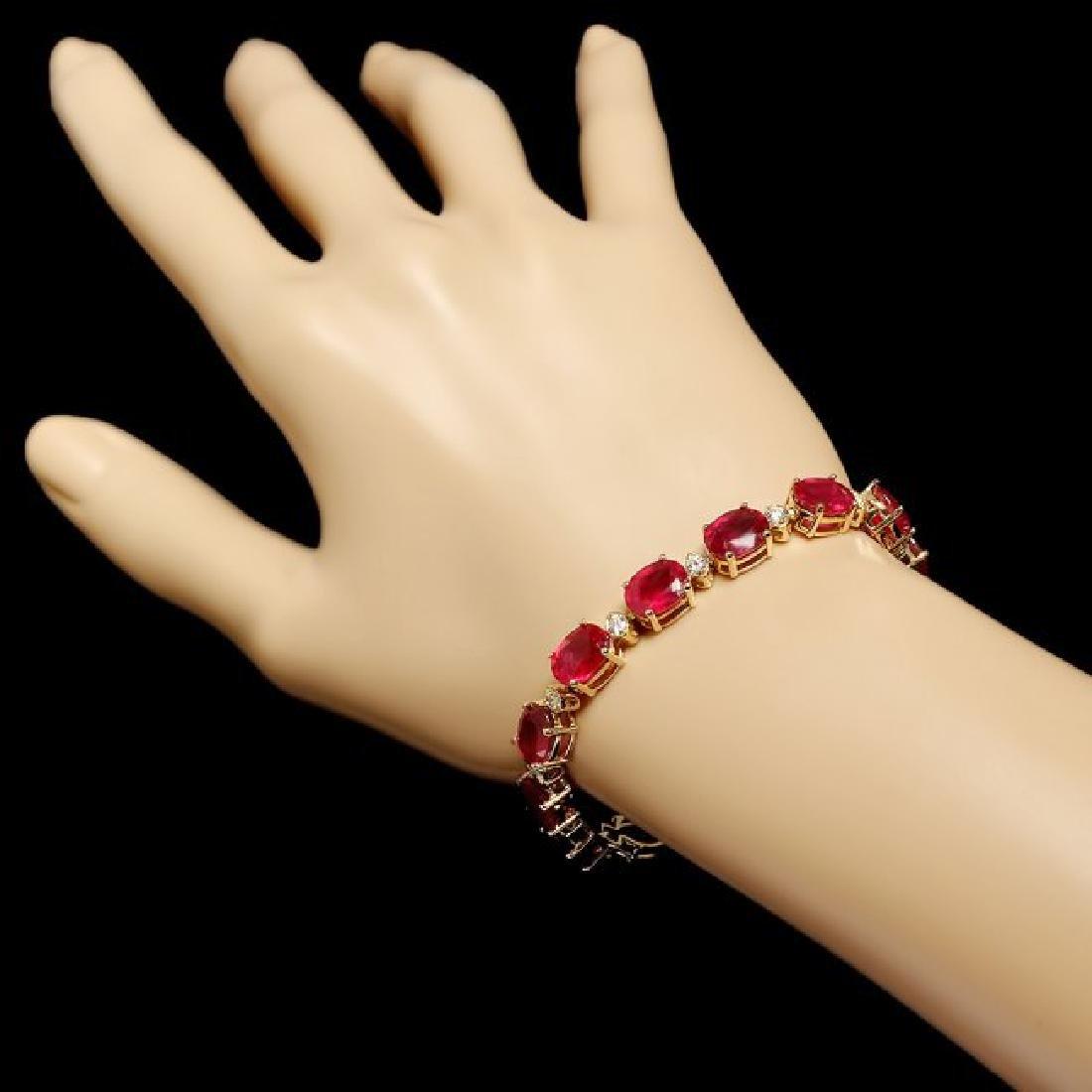 14k Gold 34.50ct Ruby 1.15ct Diamond Bracelet - 4