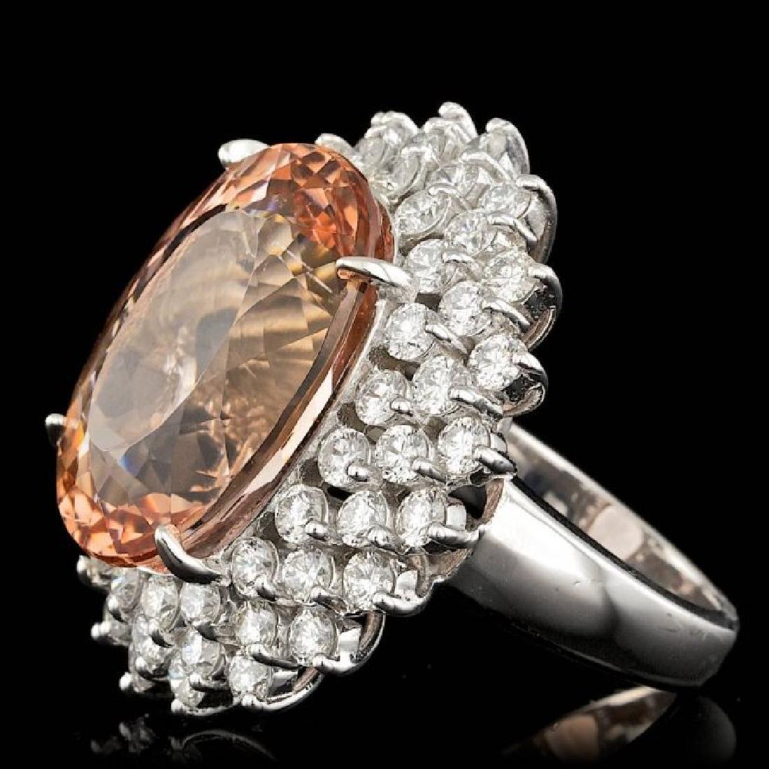 14k Gold 21.00ct Morganite 4.00ct Diamond Ring - 2