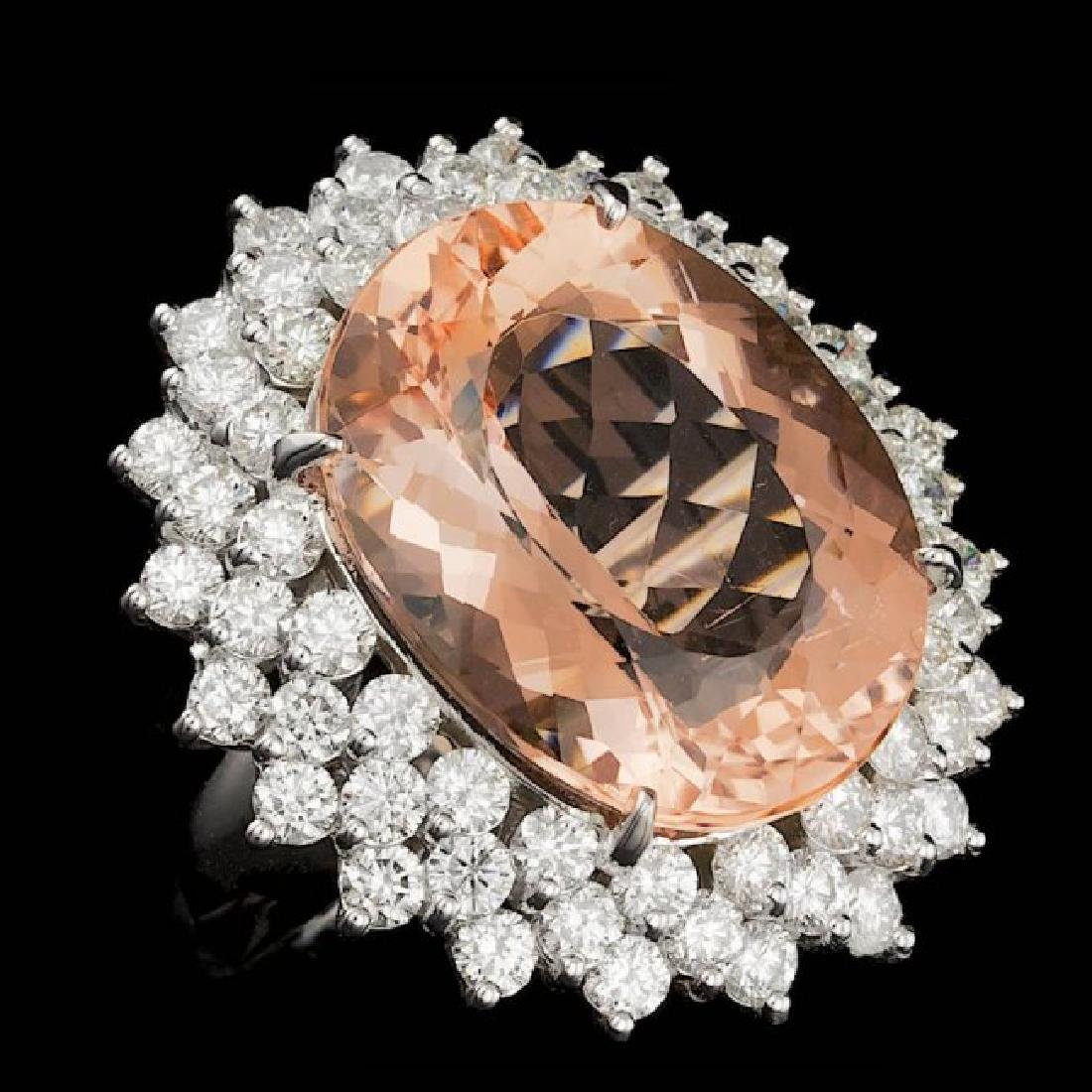 14k Gold 21.00ct Morganite 4.00ct Diamond Ring - 3