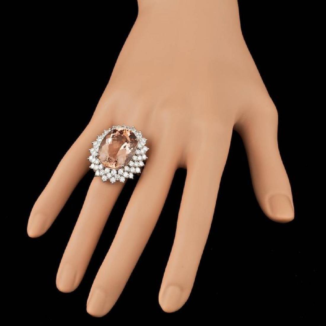 14k Gold 21.00ct Morganite 4.00ct Diamond Ring - 4