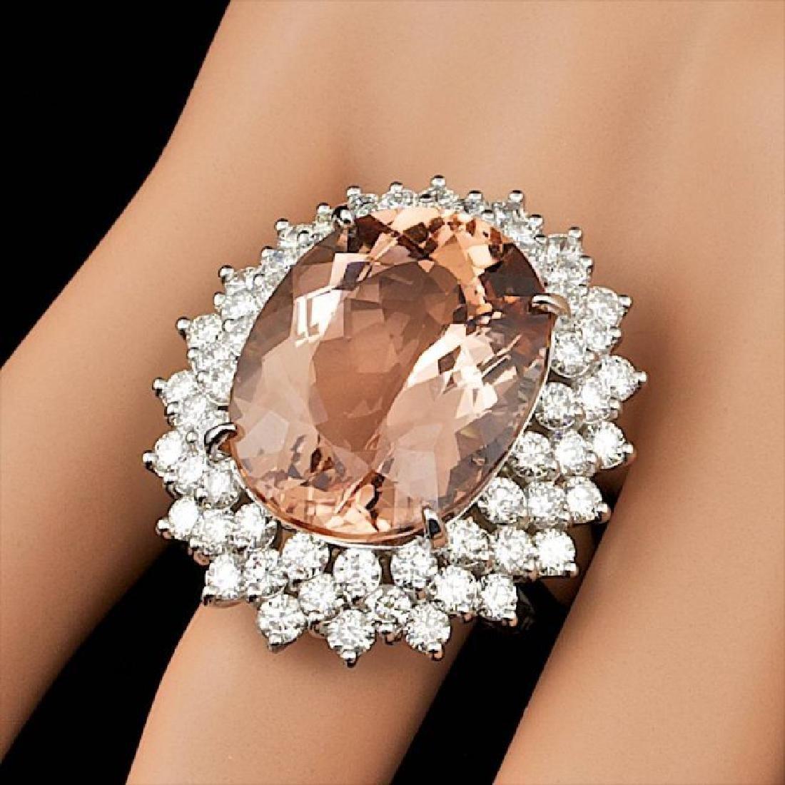 14k Gold 21.00ct Morganite 4.00ct Diamond Ring - 5