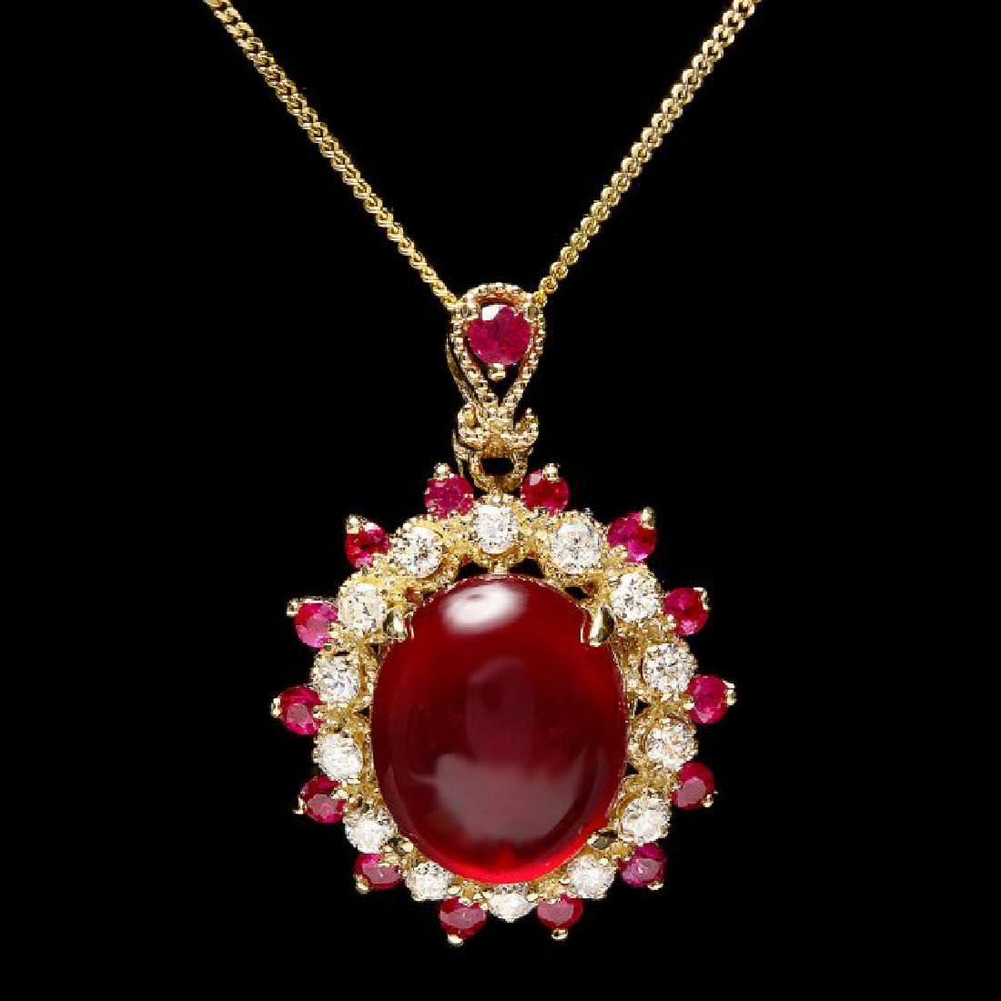 14k Yellow Gold 8.2ct Ruby 0.44ct Diamond Pendant