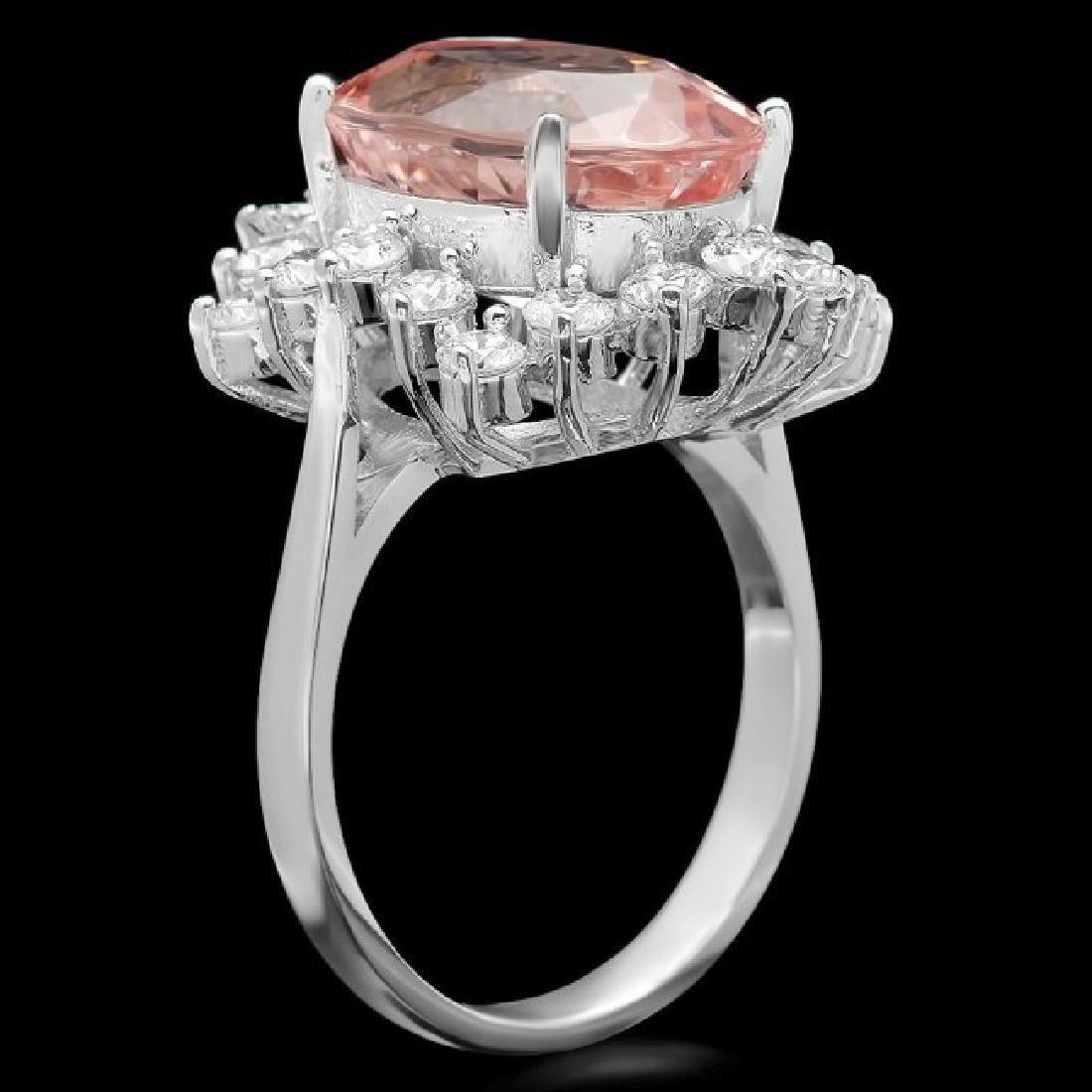 14k Gold 6.50ct Morganite 1.30ct Diamond Ring - 2