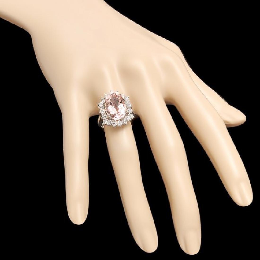 14k Gold 6.50ct Morganite 1.30ct Diamond Ring - 3