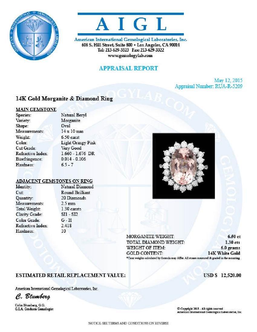 14k Gold 6.50ct Morganite 1.30ct Diamond Ring - 4