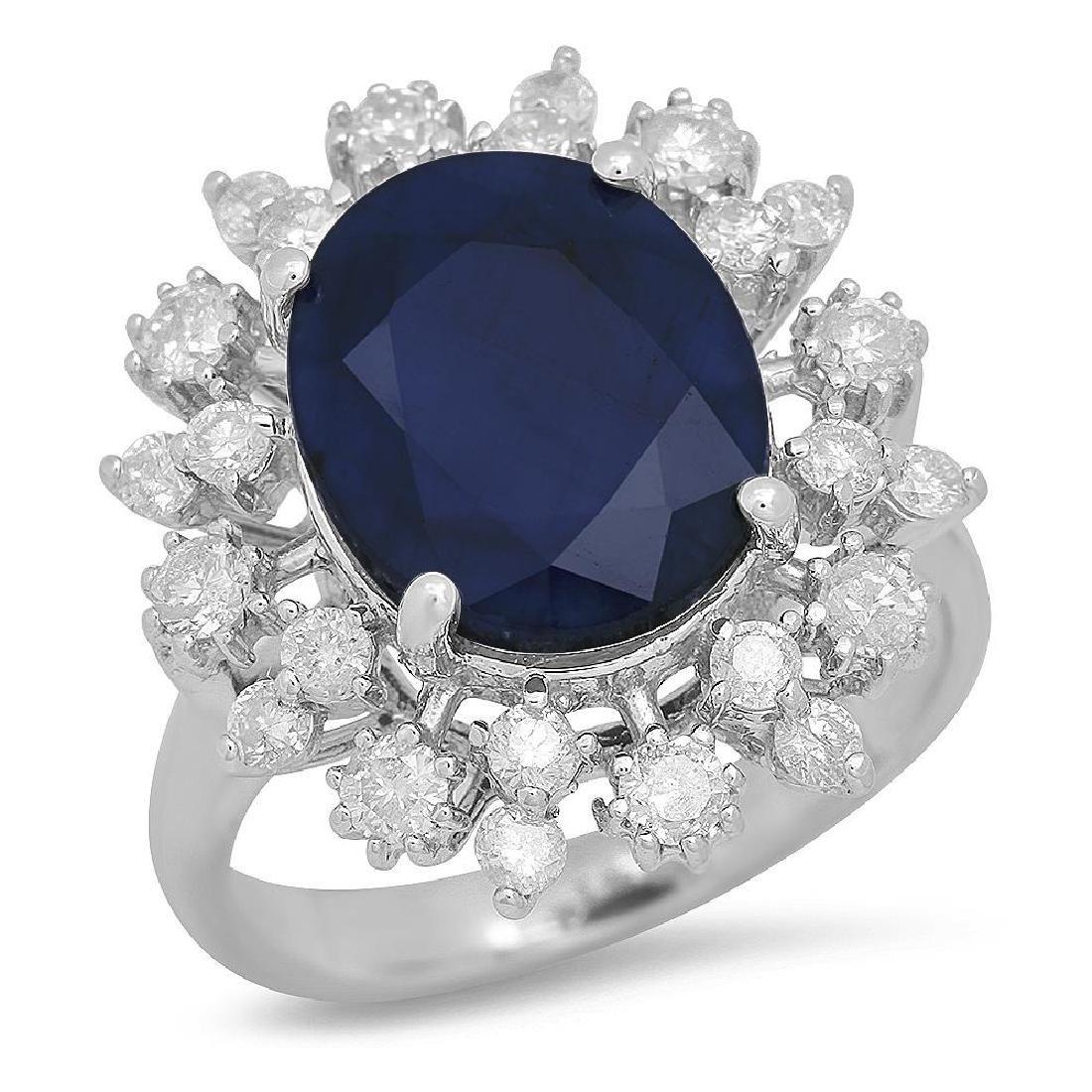 14K Gold 6.16ct Sapphire 1.00cts Diamond Ring
