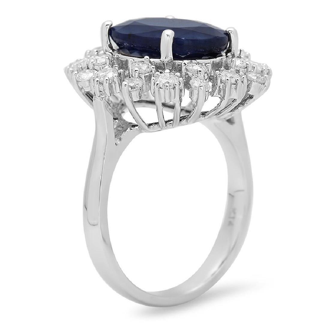 14K Gold 6.16ct Sapphire 1.00cts Diamond Ring - 2