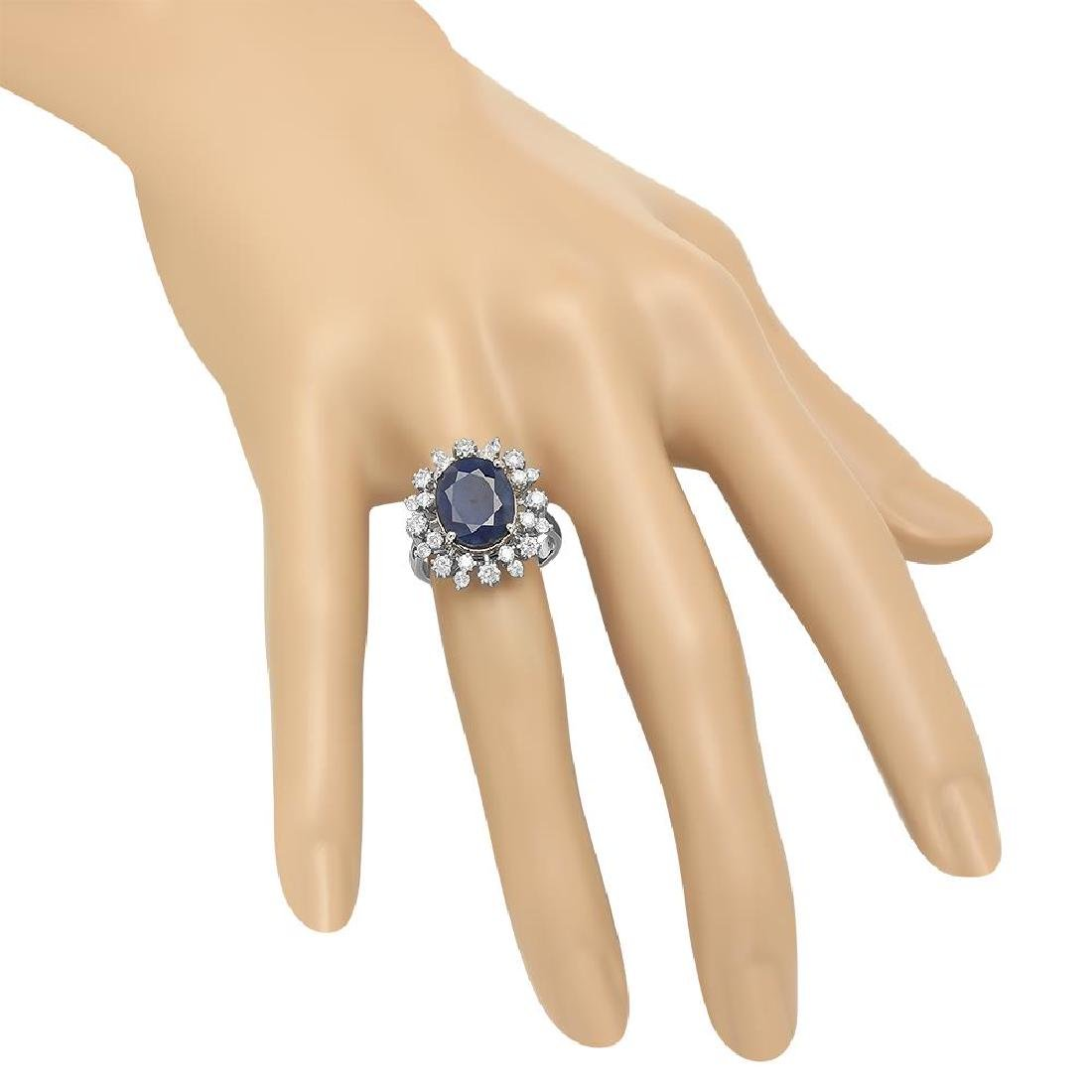 14K Gold 6.16ct Sapphire 1.00cts Diamond Ring - 3