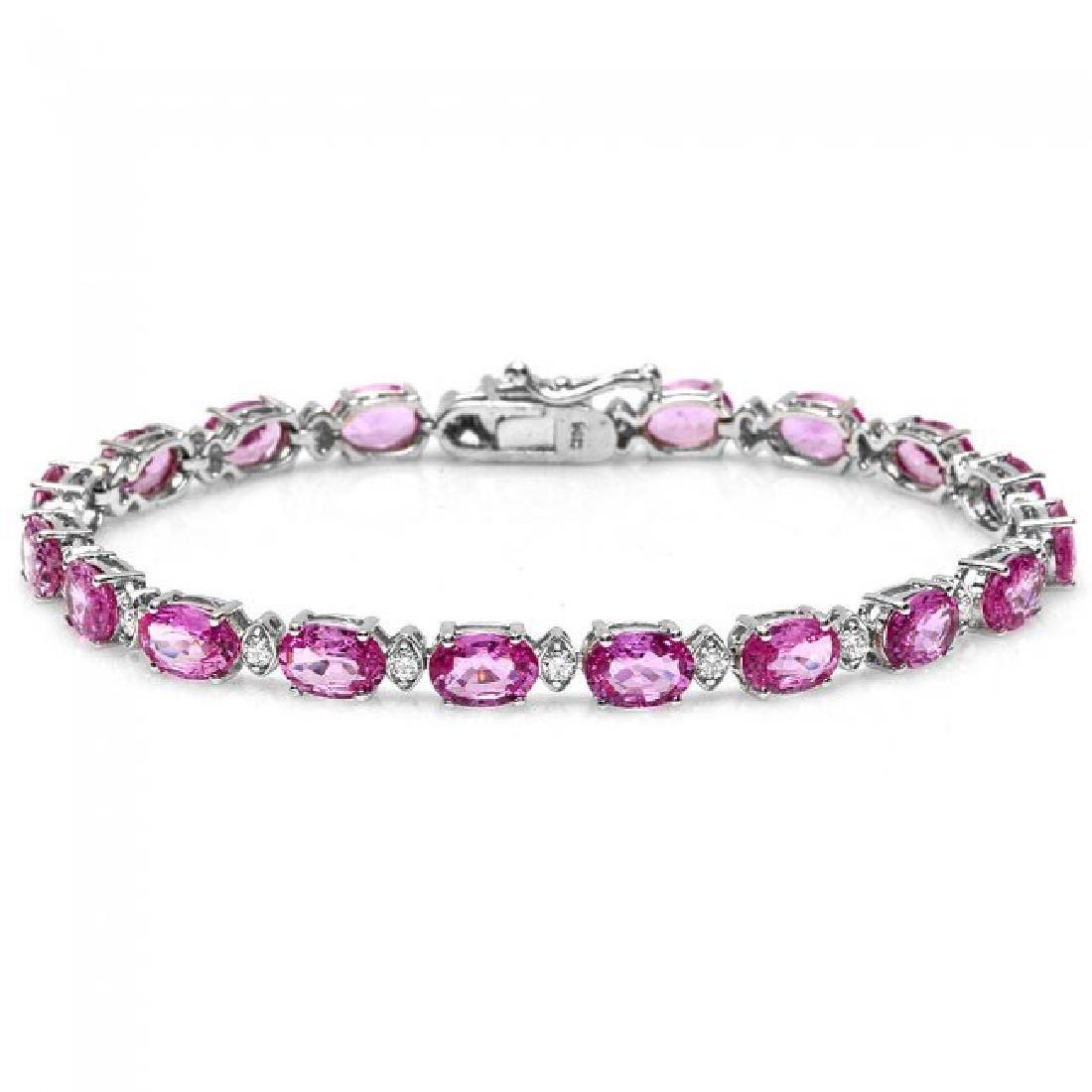 14k Gold 16ct Sapphire .70ct Diamond Bracelet - 2
