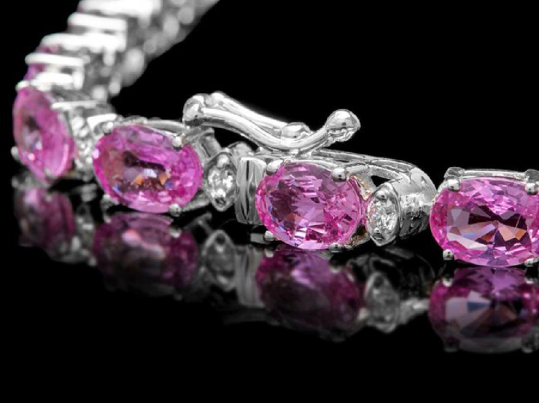 14k Gold 16ct Sapphire .70ct Diamond Bracelet - 3