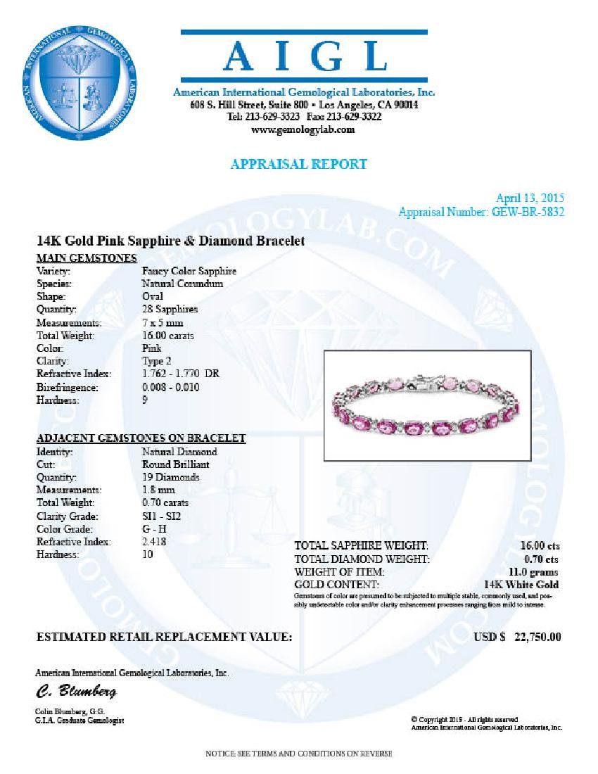 14k Gold 16ct Sapphire .70ct Diamond Bracelet - 5