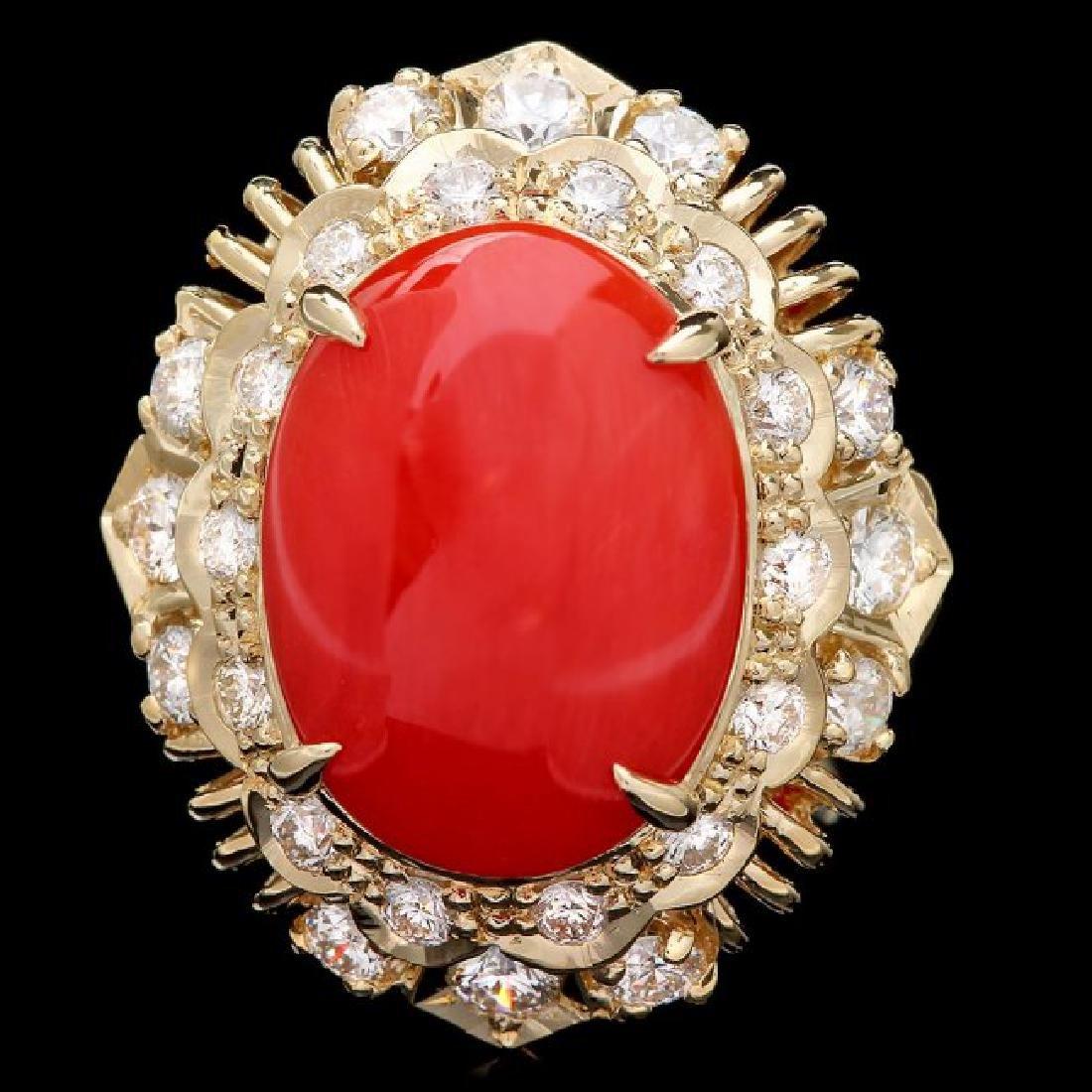 14k Yellow Gold 4.50ct Coral 1.30ct Diamond Ring