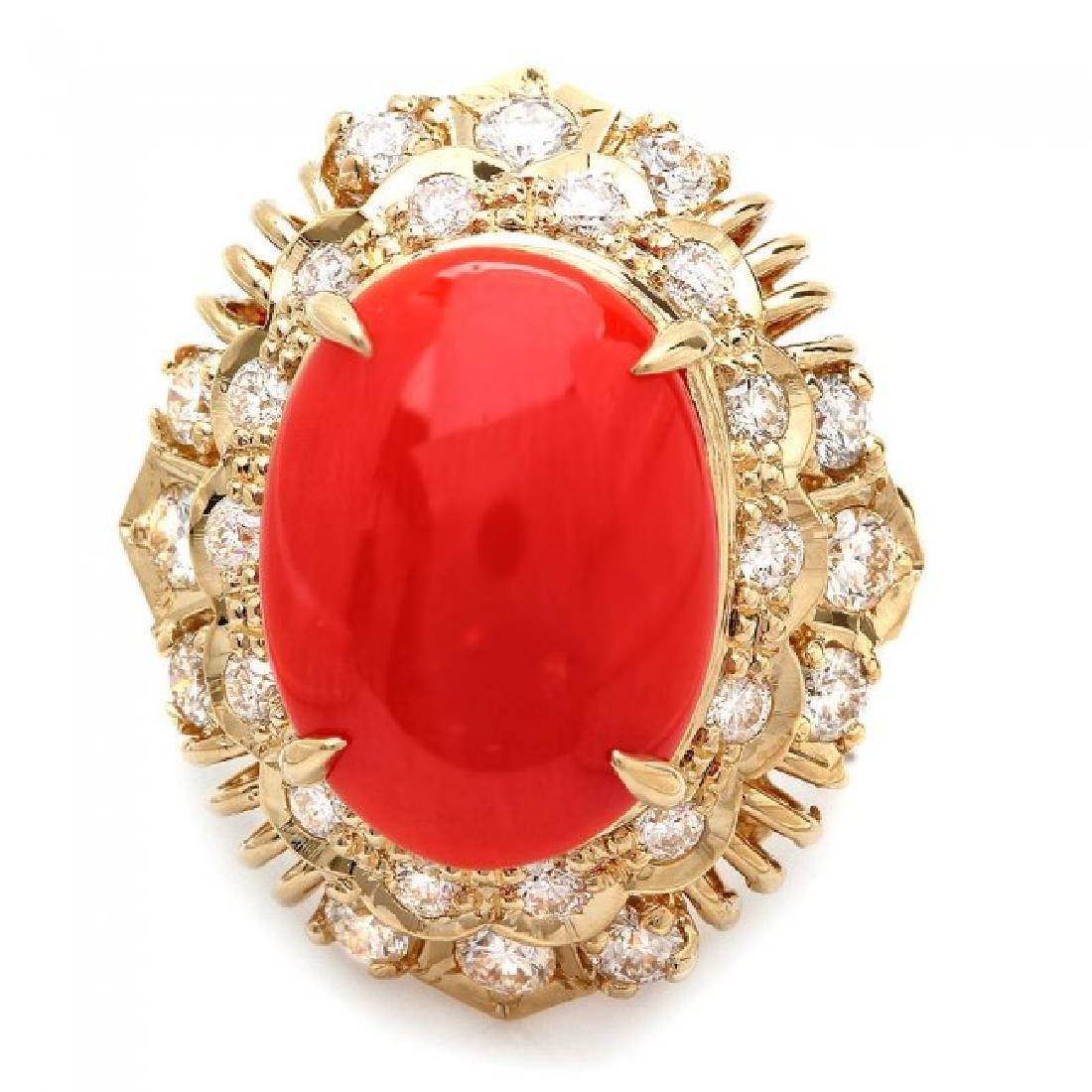 14k Yellow Gold 4.50ct Coral 1.30ct Diamond Ring - 2