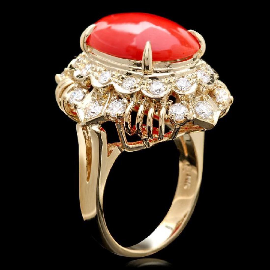 14k Yellow Gold 4.50ct Coral 1.30ct Diamond Ring - 3