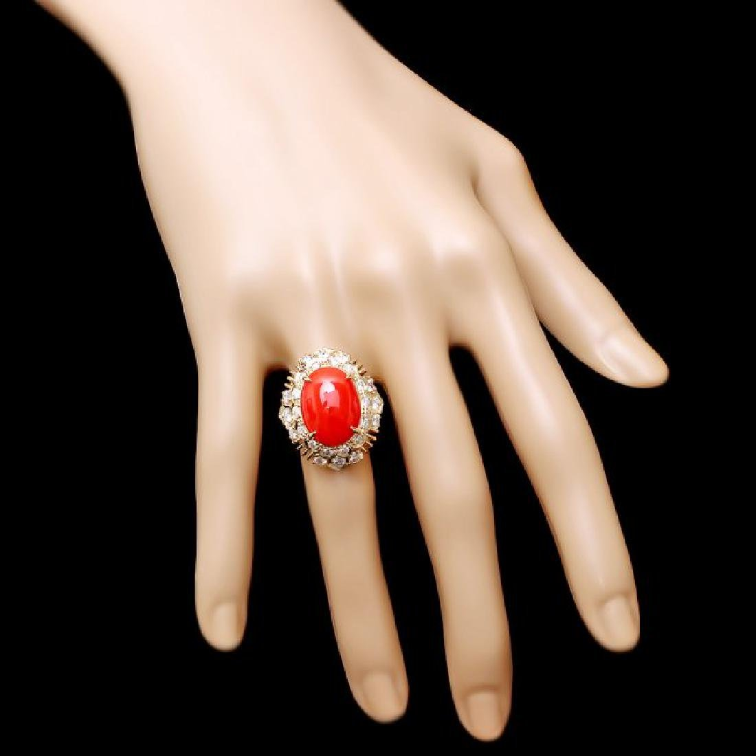 14k Yellow Gold 4.50ct Coral 1.30ct Diamond Ring - 4