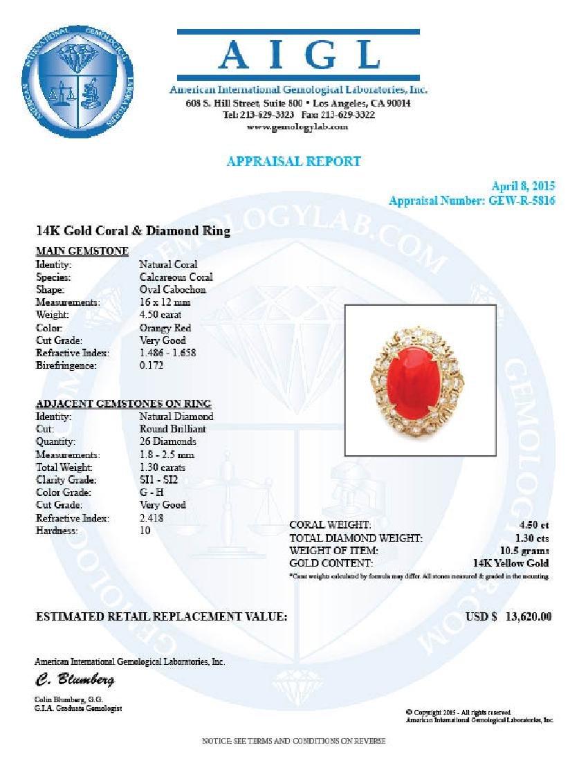 14k Yellow Gold 4.50ct Coral 1.30ct Diamond Ring - 5