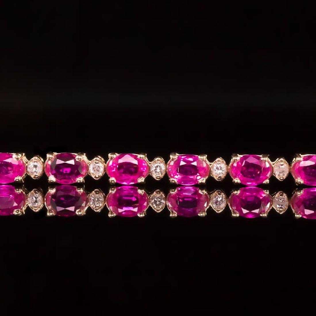 14K Gold 9.36ct Pink Sapphire 0.70ct Diamond Bracelet - 2