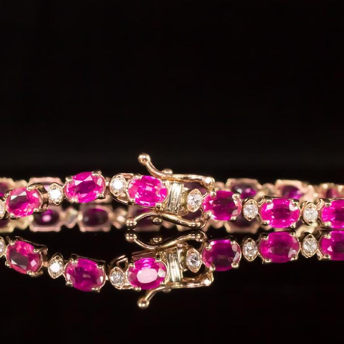 14K Gold 9.36ct Pink Sapphire 0.70ct Diamond Bracelet - 3