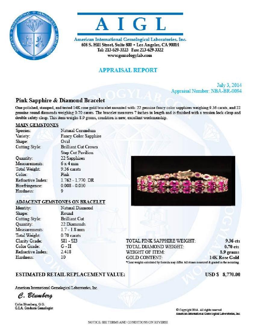 14K Gold 9.36ct Pink Sapphire 0.70ct Diamond Bracelet - 4