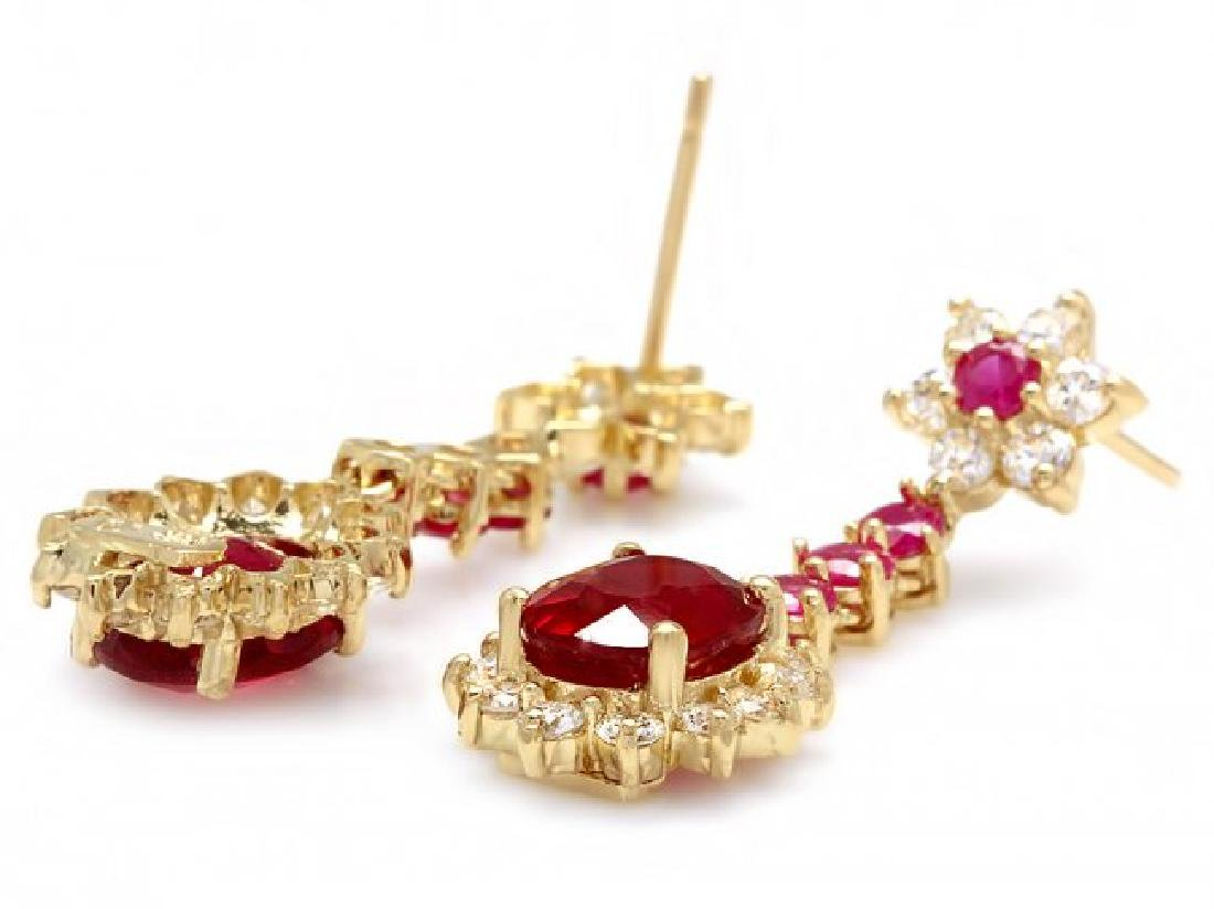 14k Yellow Gold 7ct Ruby 1.80ct Diamond Earrings - 2