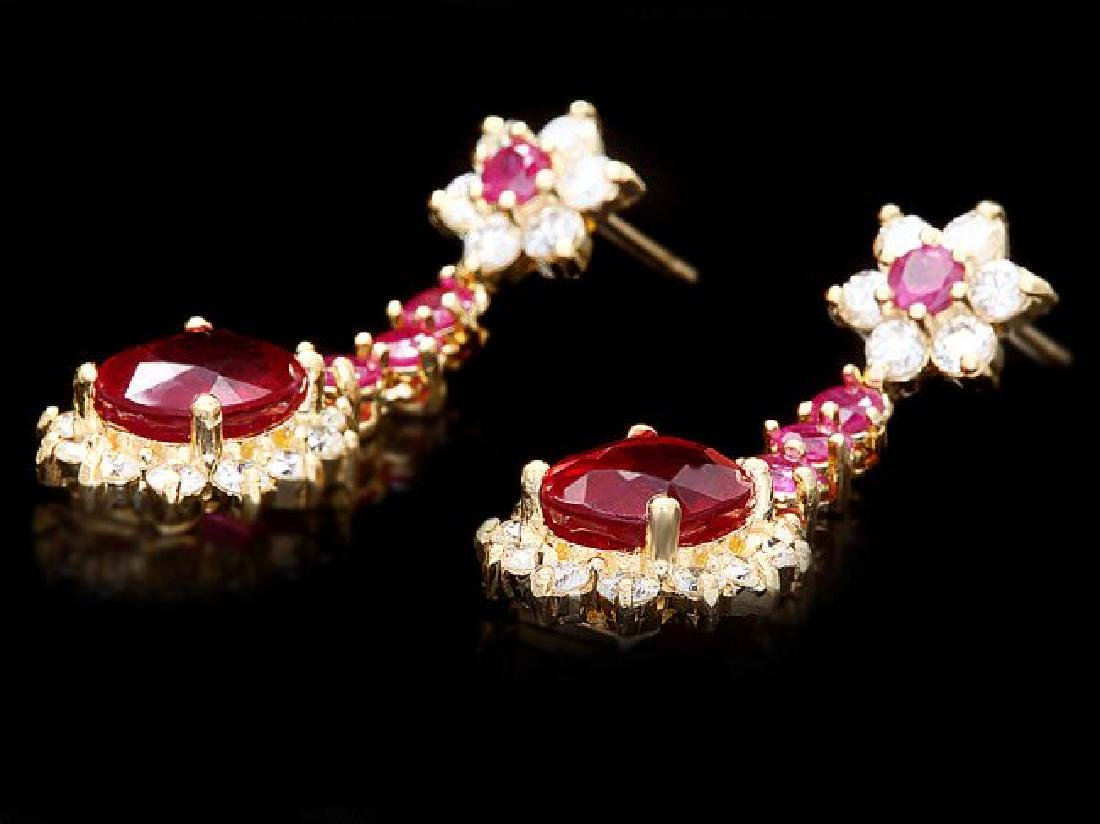14k Yellow Gold 7ct Ruby 1.80ct Diamond Earrings - 3