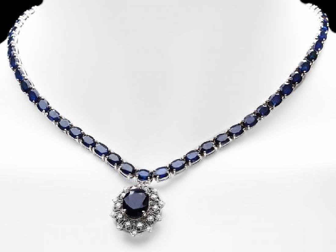 14k Gold 58ct Sapphire 1.15ct Diamond Necklace - 2