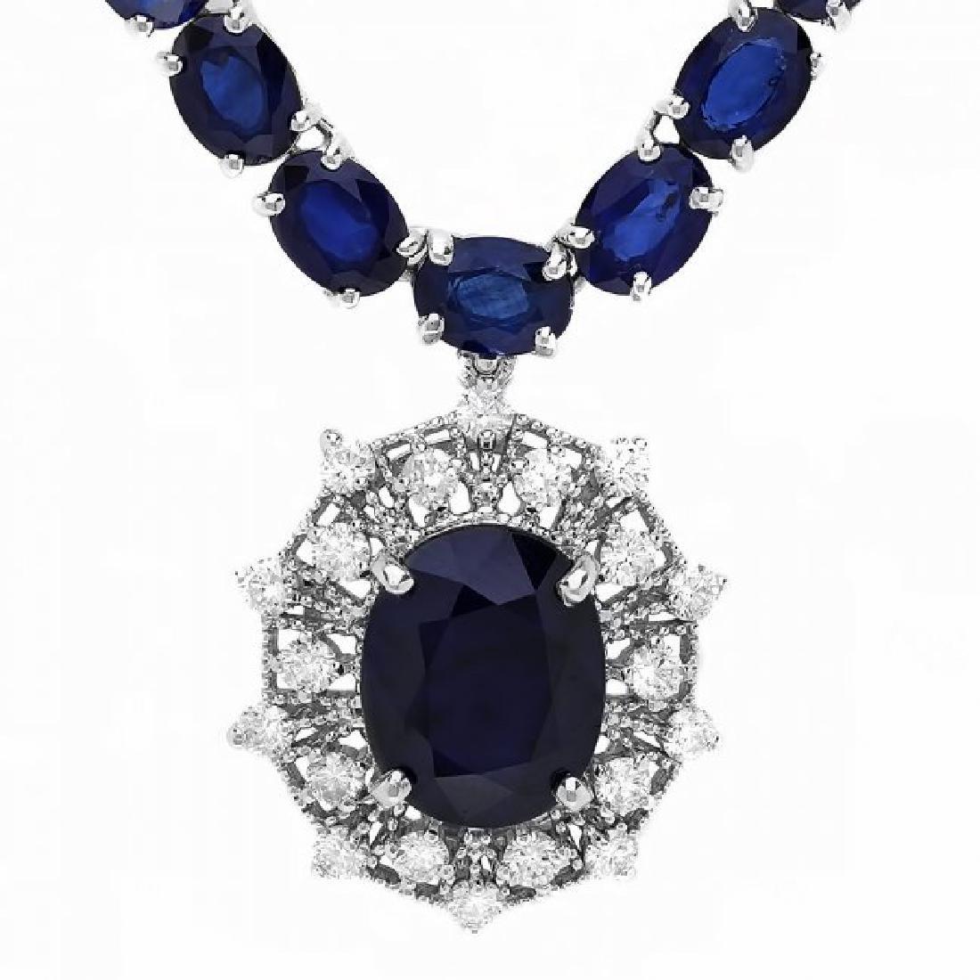14k Gold 58ct Sapphire 1.15ct Diamond Necklace - 3
