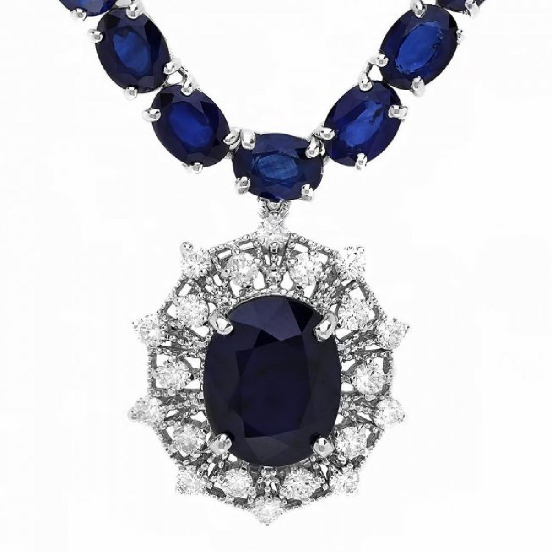 14k Gold 58ct Sapphire 1.15ct Diamond Necklace - 3