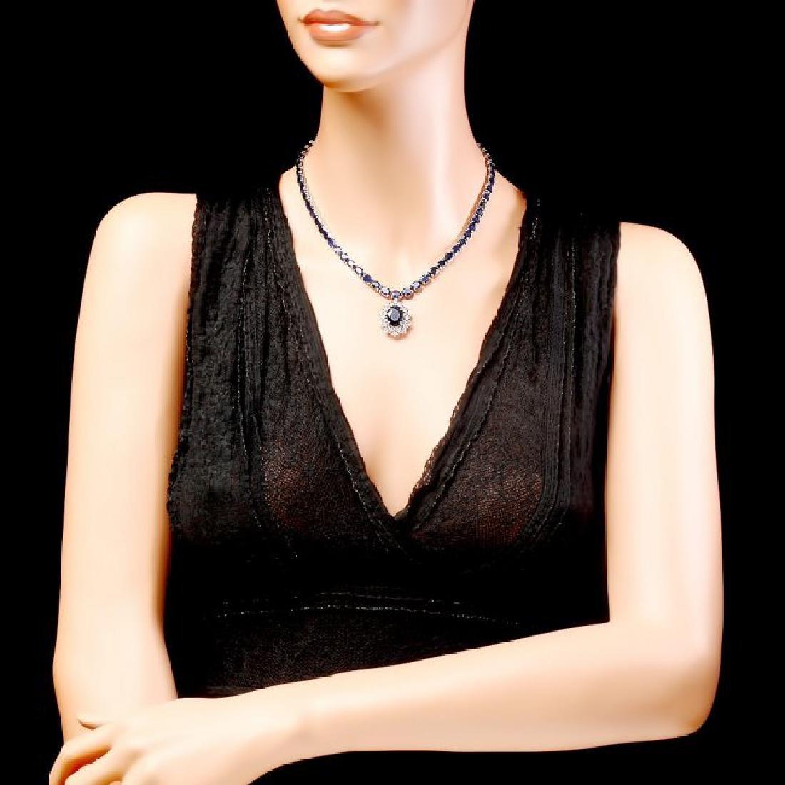 14k Gold 58ct Sapphire 1.15ct Diamond Necklace - 6