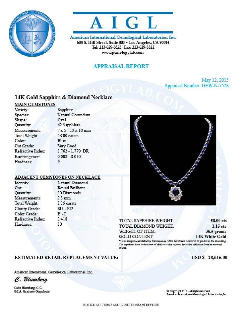 14k Gold 58ct Sapphire 1.15ct Diamond Necklace - 7