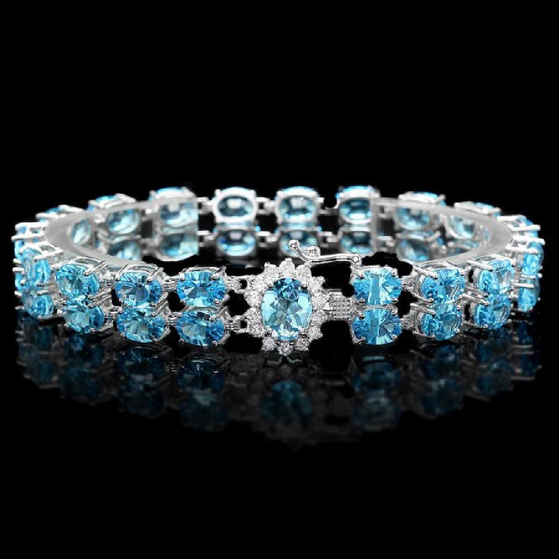 14k Gold 33.5ct Topaz 0.66ct Diamond Bracelet