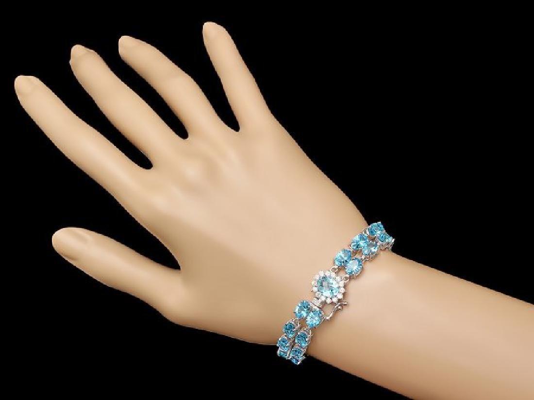 14k Gold 33.5ct Topaz 0.66ct Diamond Bracelet - 4