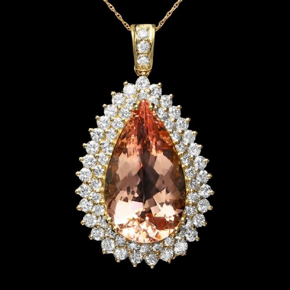 14k Gold 20.00ct Morganite 3.50ct Diamond Pendant