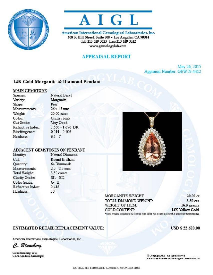 14k Gold 20.00ct Morganite 3.50ct Diamond Pendant - 4