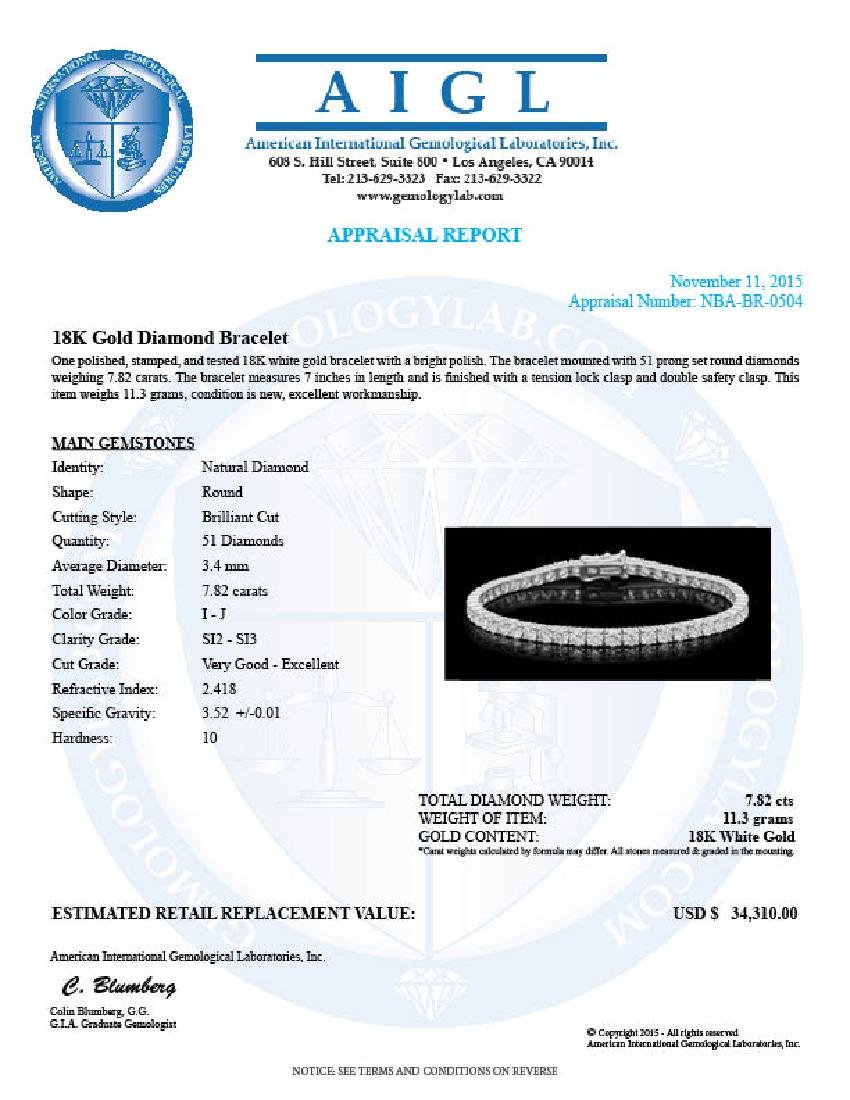18K Gold 7.82ct Diamond Bracelet - 4