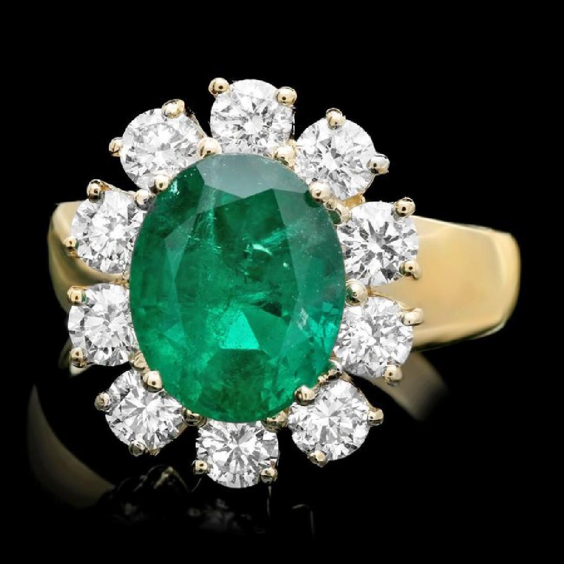 14k Gold 3.50ct Emerald 1.30ct Diamond Ring