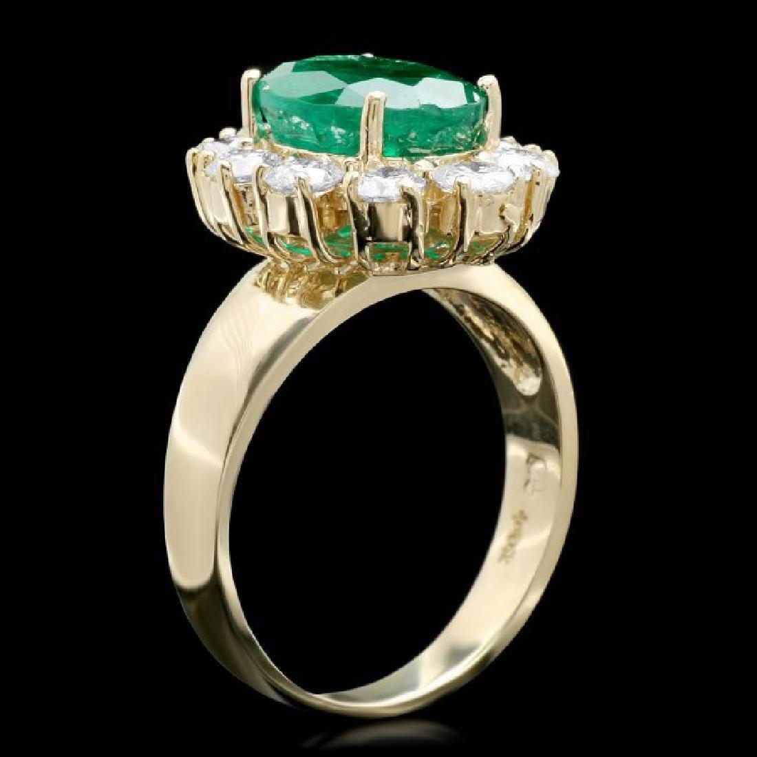 14k Gold 3.50ct Emerald 1.30ct Diamond Ring - 2