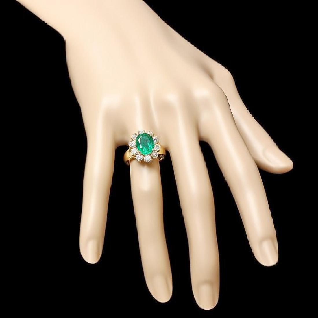 14k Gold 3.50ct Emerald 1.30ct Diamond Ring - 3