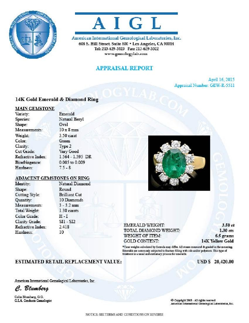14k Gold 3.50ct Emerald 1.30ct Diamond Ring - 4