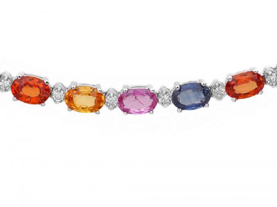 14k Gold 29ct Sapphire 1.45ct Diamond Necklace - 3