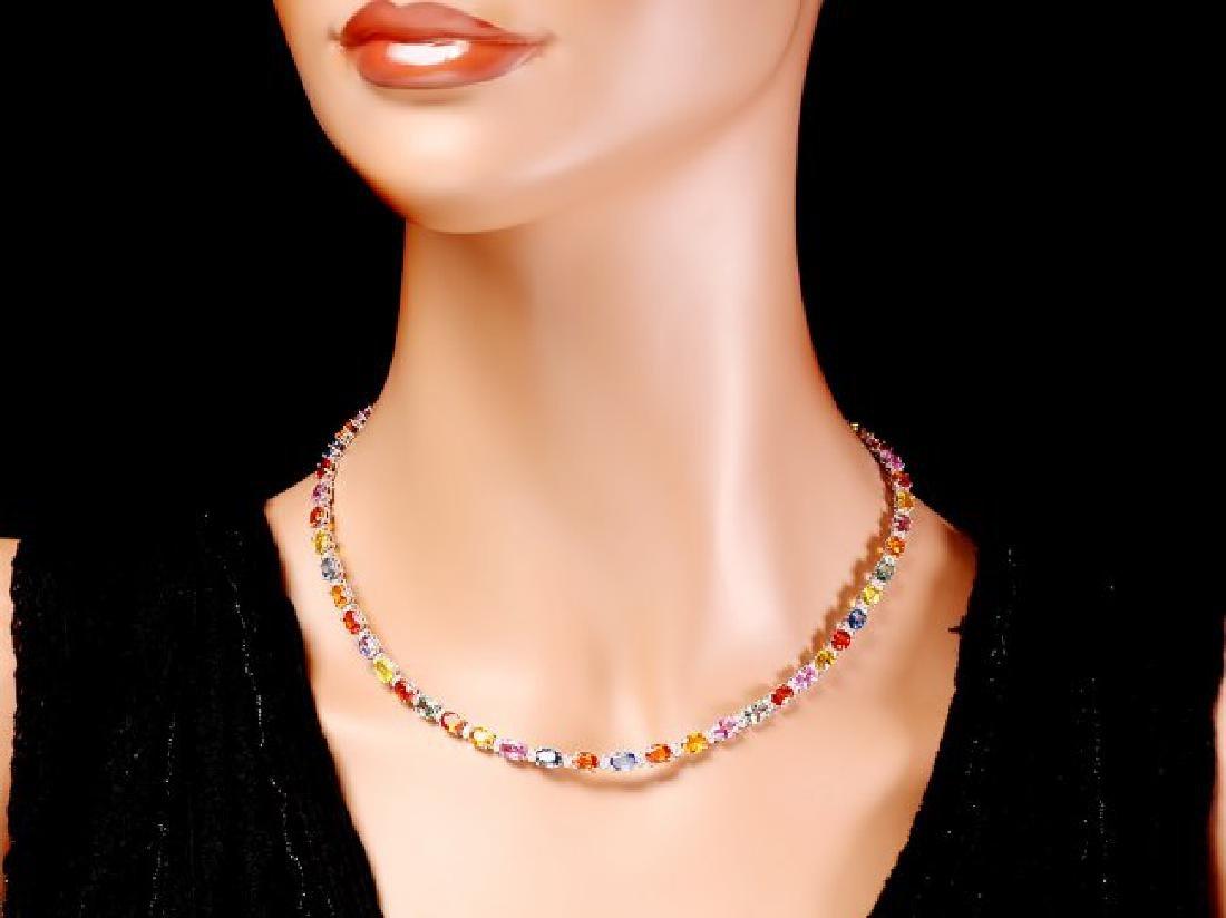 14k Gold 29ct Sapphire 1.45ct Diamond Necklace - 6