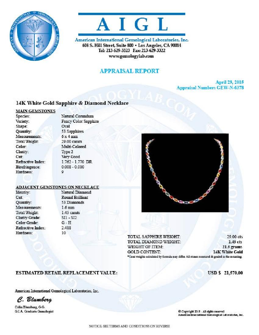 14k Gold 29ct Sapphire 1.45ct Diamond Necklace - 7